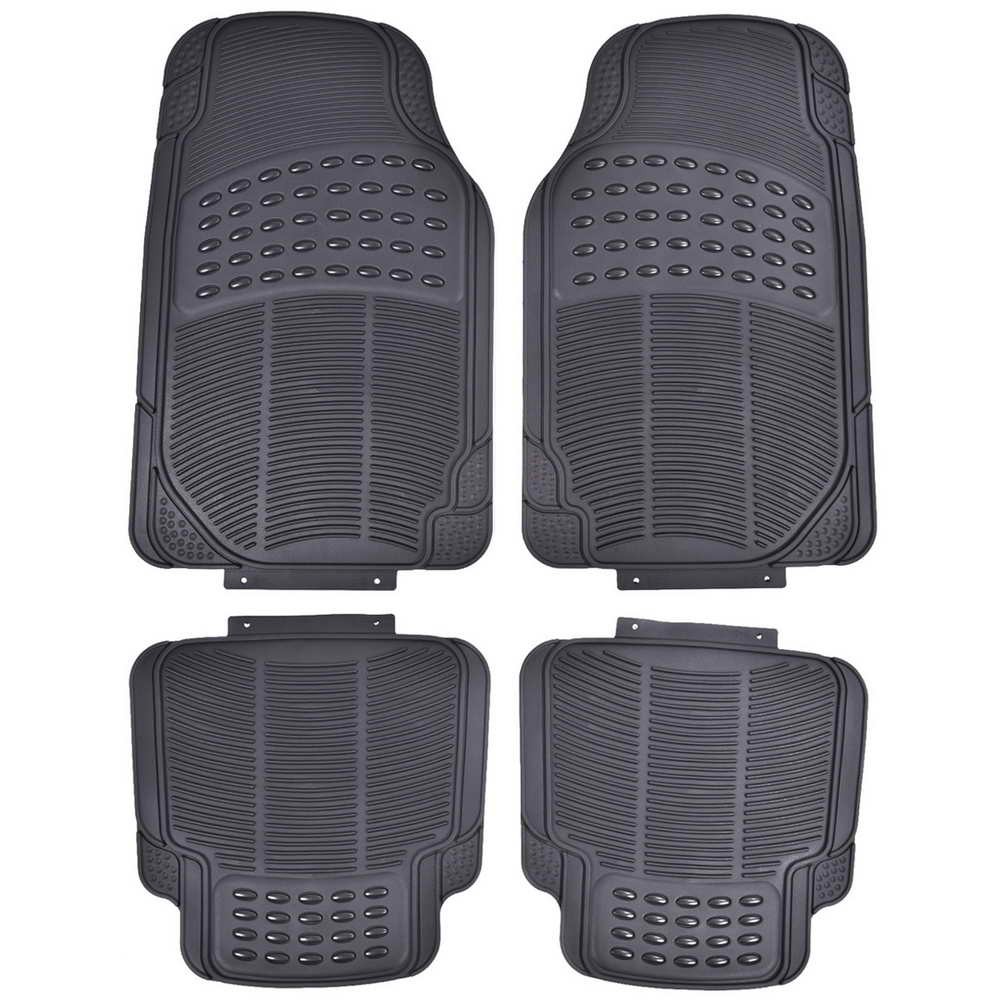 Toolsempire 4 PCS All Weather Universal Cars Front & Rear Floor Mats (Black)