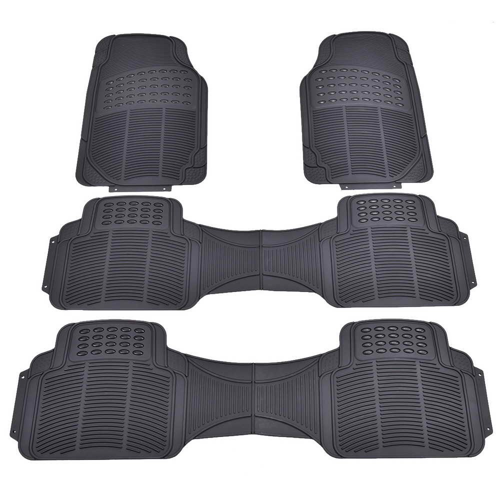 Toolsempire 4 PCS All Weather Rubber Vehicle Floor Mats Universal Auto Front Rear Liners Black